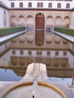 Inside the Alhambra, the greatest moslem architecture in Europe.