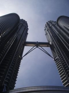 The Petronas towers (Kuala Lumpur) taken whilst laying on the pavement below: quite the most amazing modern building on the planet.